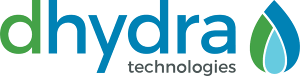 Dhydra Technologies Logo in Blue, Green, and Gray with a water drop symbol