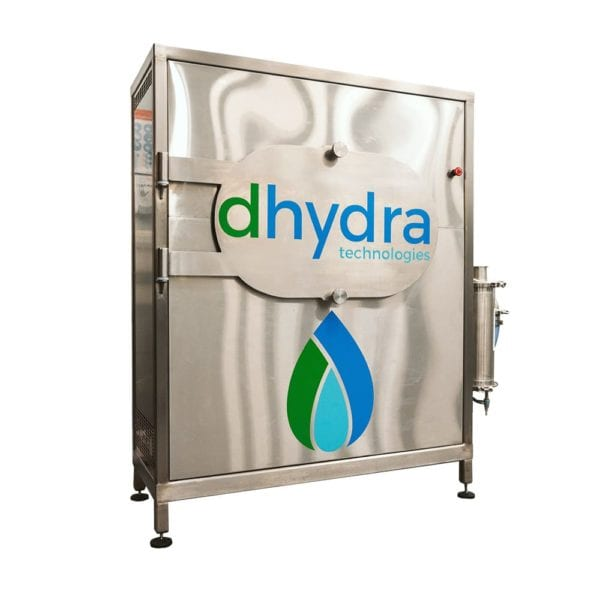 Hemp drying machine from Dhydra Technologies in silver with logo and brand symbol on front panel